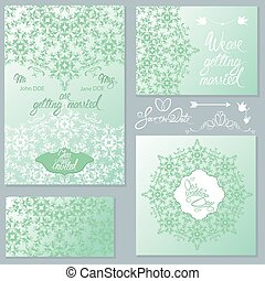 Set of Wedding invitation cards with floral elements, handwritte