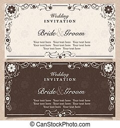 Set of wedding invitation cards with orchid flower