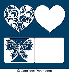 Set of wedding invitation, engagement, Valentine's day, greeting holiday cards. The layout of the cards suitable for laser or plotter. Cut out template and fold on the dotted line. Vector illustration.