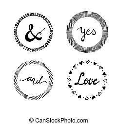 Set of wedding invitation vintage typographic design elements.