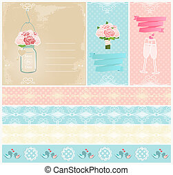 Set of wedding invitations and tape - Set of three different...
