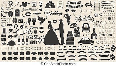 Set of Wedding Marriage, Bridal Invitation Vintage Design Elements, Designers Toolkit