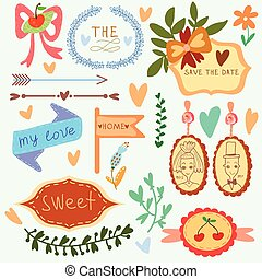 Set of wedding ornaments and decorative elements, vintage banner, arrows, hearts, laurel, ribbon, labels, frames, badge, stickers. Vector love element.