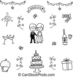 Set of wedding party doodle