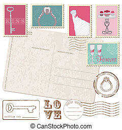 Set Of Wedding Postage Stamps