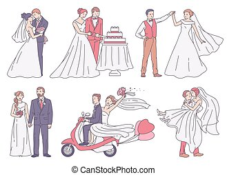 Set of wedding scenes with bride and groom sketch vector illustration isolated