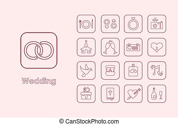 Set of wedding simple icons