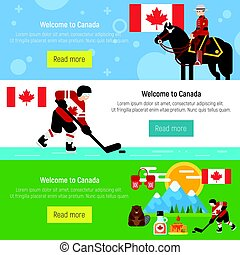 Set of Welcome to Canada template for web banner or poster
