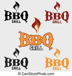 set of western bbq design template