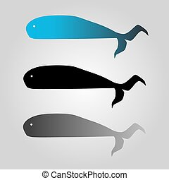 Set of  whales - vector illustration