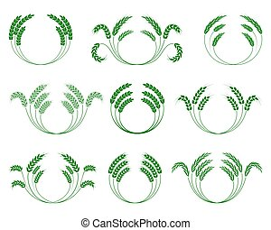 Set of wheaten wreaths on a white background. Vector.