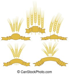 Wheats - Set of Wheats with Ribbons Isolated on White...