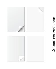 Set of White A4 size paper sheet with different curled corners, realistic vector