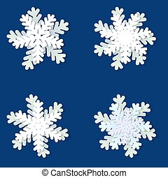 Set of white and blue Christmas paper snowflakes