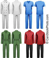 Set of white and colorful work clothes. Design template. ...