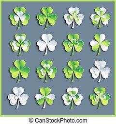 Set of white and green 3d Patricks leaf clover