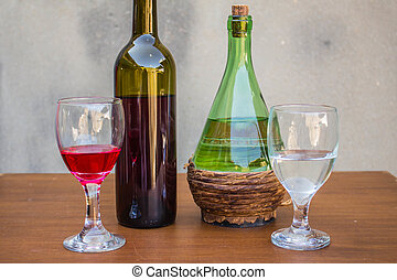 Set of white and red wine