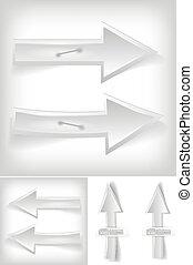 Set of white arrows - vector illustration