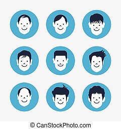 set of white avatar icons