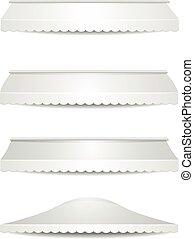 set of white awnings