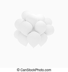 white balloons on isolated white in 3D render image