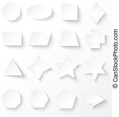 Set of white basic geometric shapes with shadow