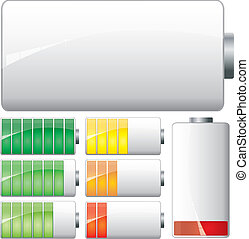Set of White Batteries charge showing stages of power ...