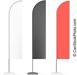 Set of White, Black and Red Outdoor Blade Straight Feather Flag