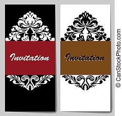 Set of white-black invitations