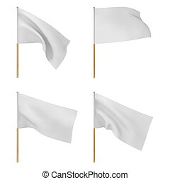 Set of white blank flags isolated on white background