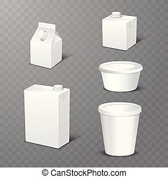 Set of white blank realistic dairy packaging including plastic bottles and carton packets isolated vector illustration
