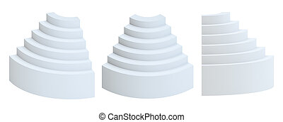Set of white Blank showcases as a podium or ladder. Business...