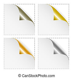 Set of white blank stickers with gold and silver corners