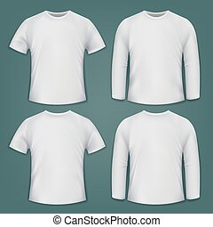 Set of white blank t-shirts.
