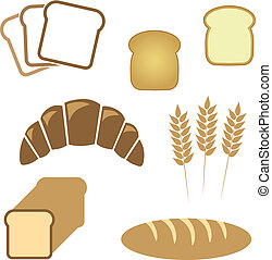 Set of white bread, bakery icons