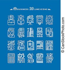 Set of White Business Icons
