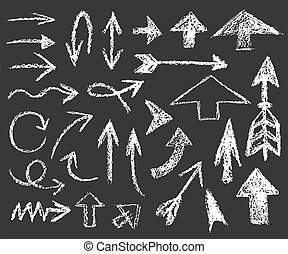 set of white chalk arrows of different shapes