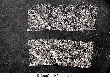 Set of white chalk drawing as line brush on black board background