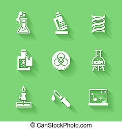 Set of white chemistry icons.