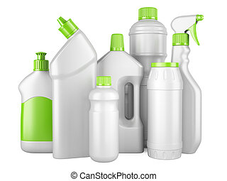 Set of white clean bottles with detergents