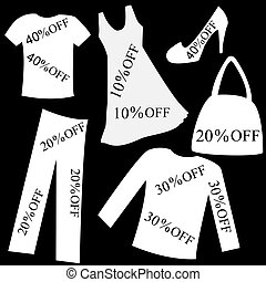 Set of white clothing with sale percent discount over black back