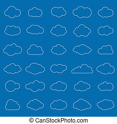 Set of white cloud line icons in blue background.Cloud symbol for your web site design, logo, app, UI. Vector illustration, EPS10.