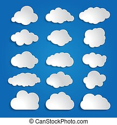 set of white clouds on a blue sky background