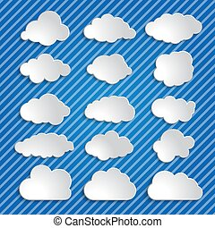 set of white clouds on a blue striped background
