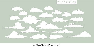 set of white clouds on a blue background