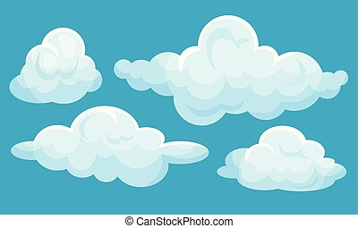 Set of white clouds. Vector illustration on a blue background.