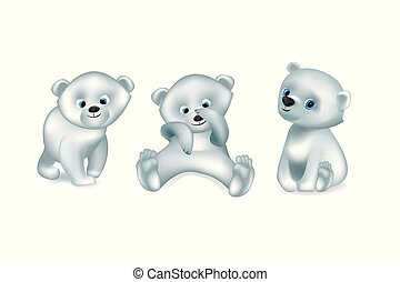 set of white cute bears vector isolated