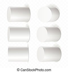 Set of white cylinders in various projections.
