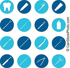Set of white dental icons on color background, vector illustration