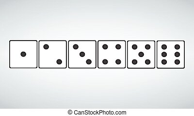 set of white dices isolated on grey background. vector illustration.